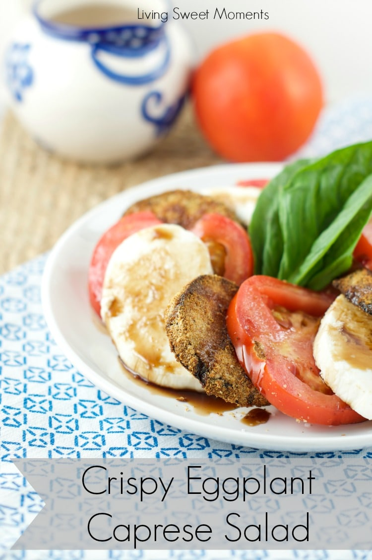 crispy eggplant caprese salad - Crispy baked eggplant, mozzarella cheese and fresh tomatoes served with balsamic glaze. Delicious as a salad or an appetizer
