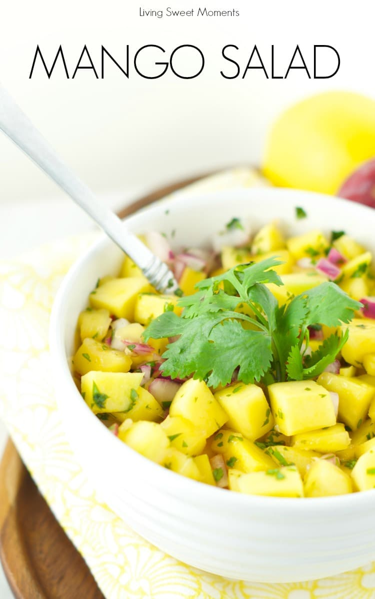 Mango Salad - Just 4 ingredients, this mango salad is the perfect summer recipe for the outdoors. Easy to make and delicious. Serve it as an app or w/chips.