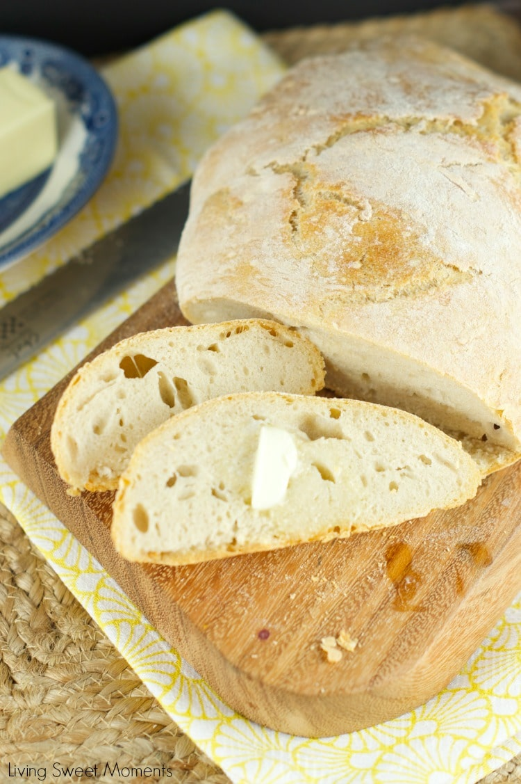 No Knead Crusty Bread - Only 4 ingredients and baked right in the dutch oven. This crusty bread is easy to make, delicious and perfect with slab of butter.