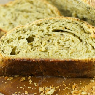 Crusty No Knead Pesto Bread