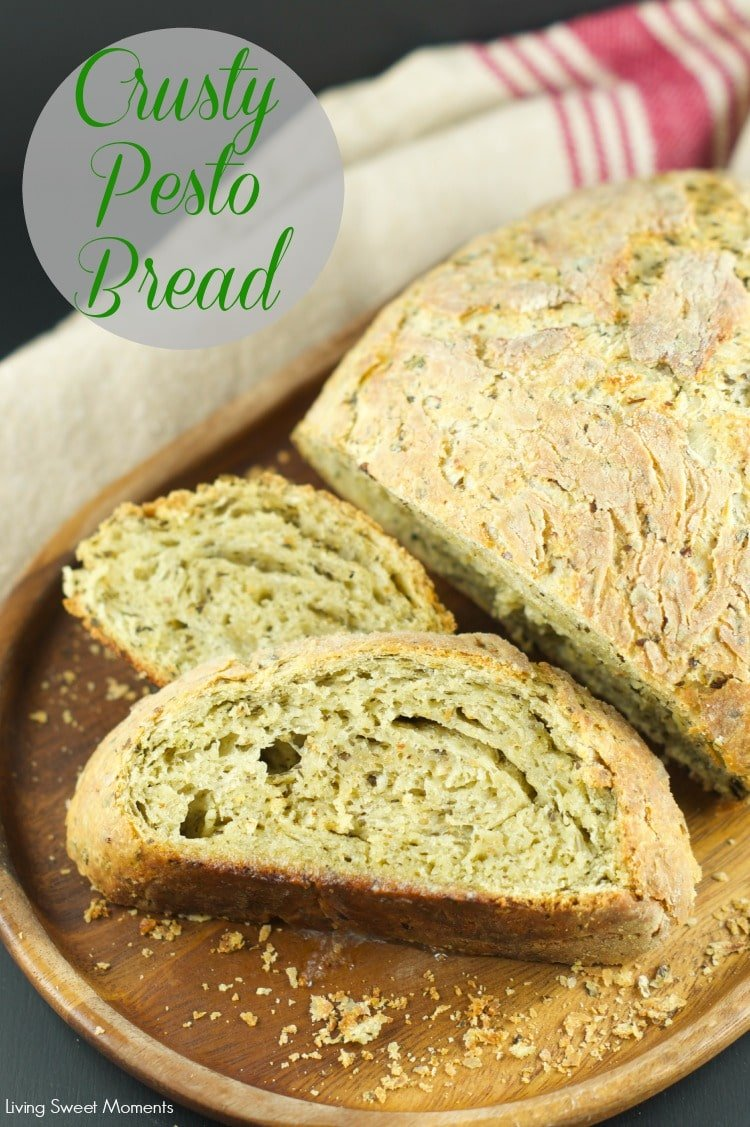 no knead pesto bread: this crusty pesto bread is easy to make and full ...