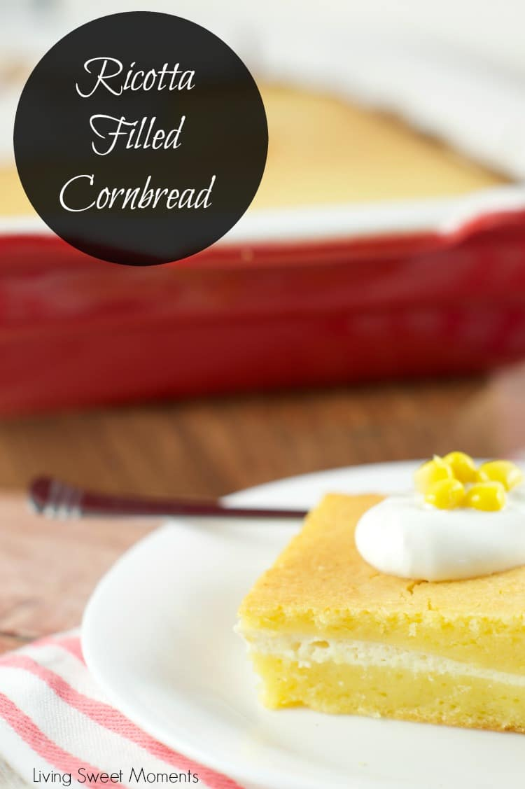 Ricotta filled Cornbread Recipe - Delicious cornbread made with buttermilk and filled with ricotta cheese. Perfect hot, warm or cold. A nice side dish idea.