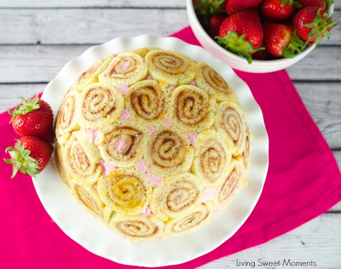 Strawberry Charlotte Royale Cake - This amazing strawberry cake is easy, delicious and beautiful. Jelly roll slices are filled with Berry Bavarian Cream.