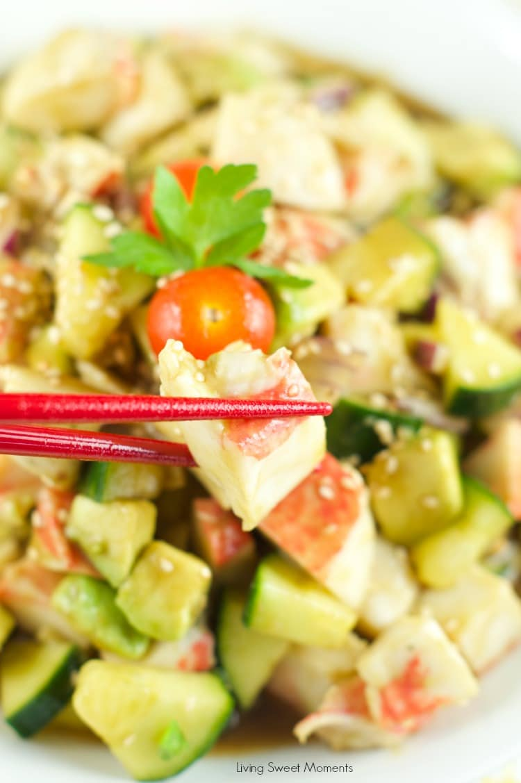 Surimi Salad served with sesame dressing for an easy and low fat dinner idea. Avocados, cucumbers and other veggies come together in a crunchy filling salad