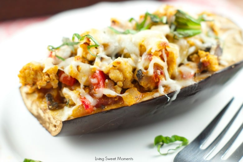Turkey Stuffed Eggplant - Delicious lean turkey mixed with veggies and tomato sauce serve inside roasted eggplants and topped with cheese. Yummy lean recipe