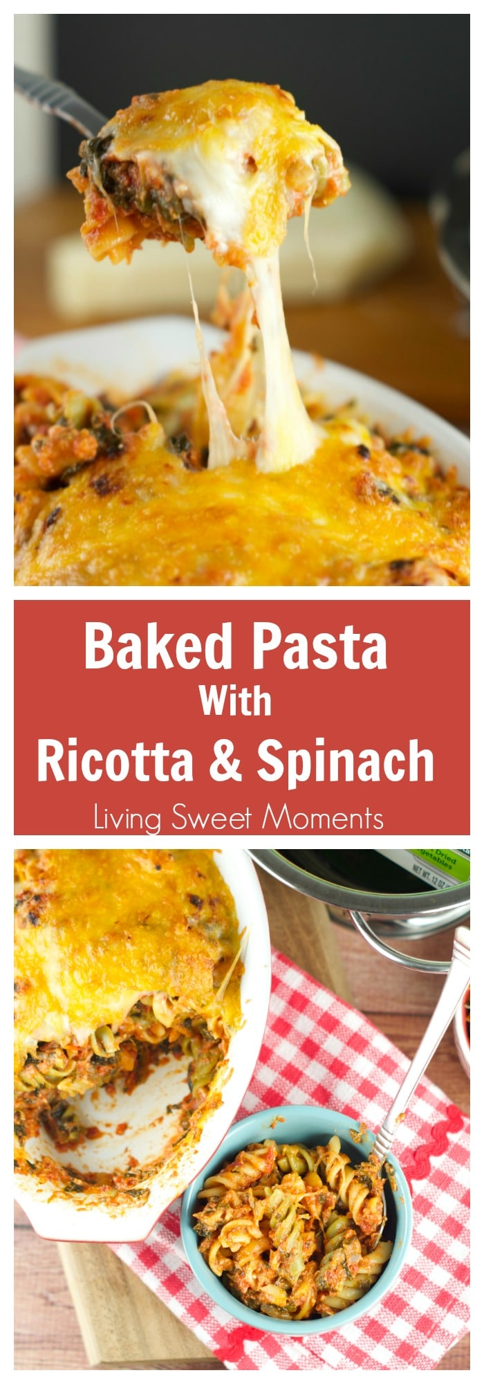 Baked Pasta With Ricotta And Spinach Recipe: have dinner on the table in 20 minutes or less! Delicious pasta is tossed with a homemade tomato ricotta sauce.