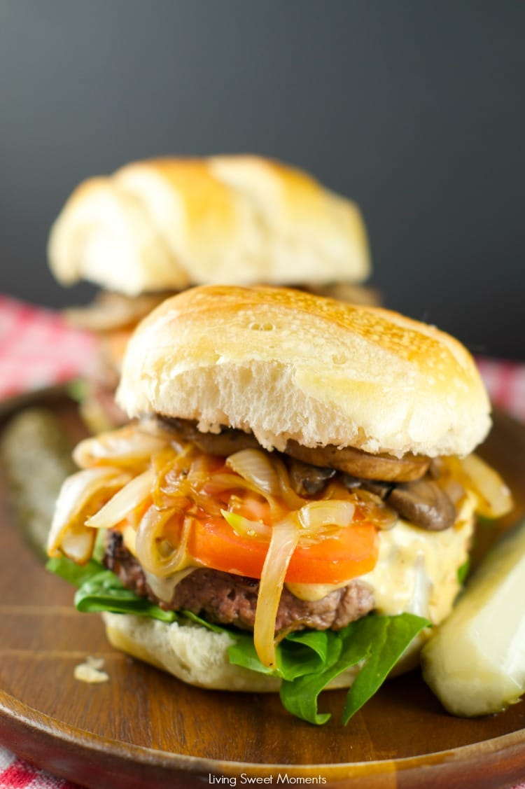 Burger With Caramelized Onions And Mushrooms: Juicy beef burgers w/ homemade sauce topped with sautéed mushrooms and caramelized onions. Perfect for dinner!