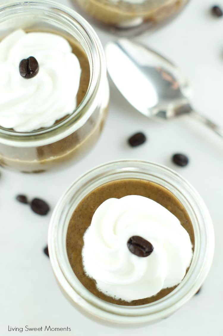 Chocolate Coffee Pots De Creme: One layer of silky chocolate custard topped with a layer of delicious coffee pot de creme served with whipped cream for a delicious creamy dessert