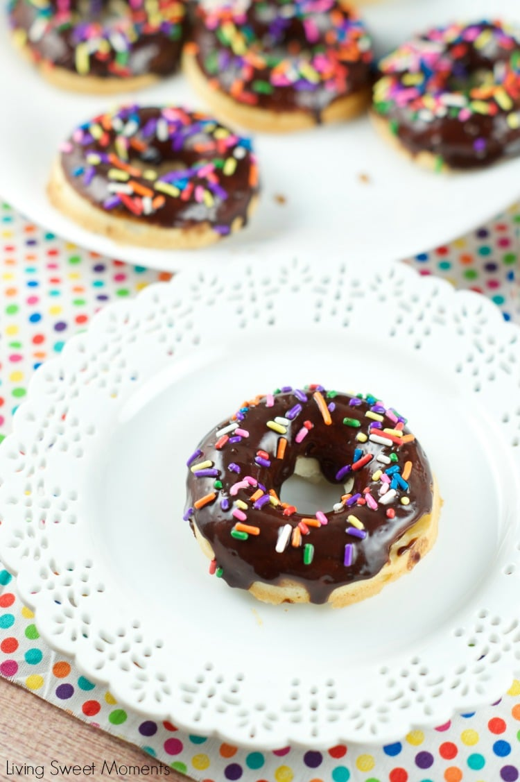 chocolate glazed baked donuts - this delicious dessert is easy to make and perfect for parties and celebrations. Donuts are baked and glazed with chocolate.