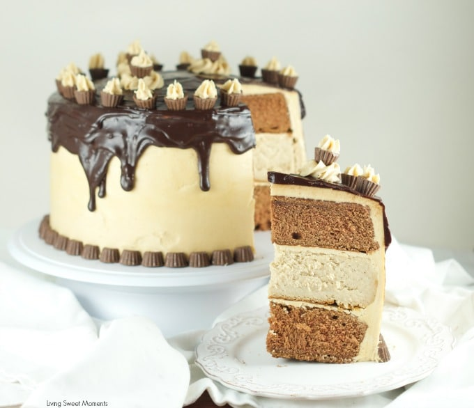 Chocolate Peanut Butter Cheesecake Cake - This is amazing cake features 2 chocolate cakes, a peanut butter cheesecake all covered in peanut butter buttercream and drizzled with chocolate ganache. The ultimate dessert. Find more at www.livingsweetmoments.com