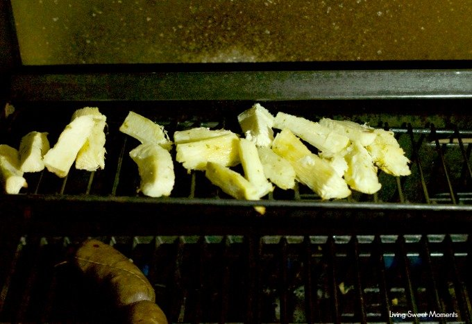 Grilled Yuca with Garlic Mojo Sauce: delicious yucas are smothered with garlic mojo sauce and then grilled until crispy. Great summer side dish to any meal