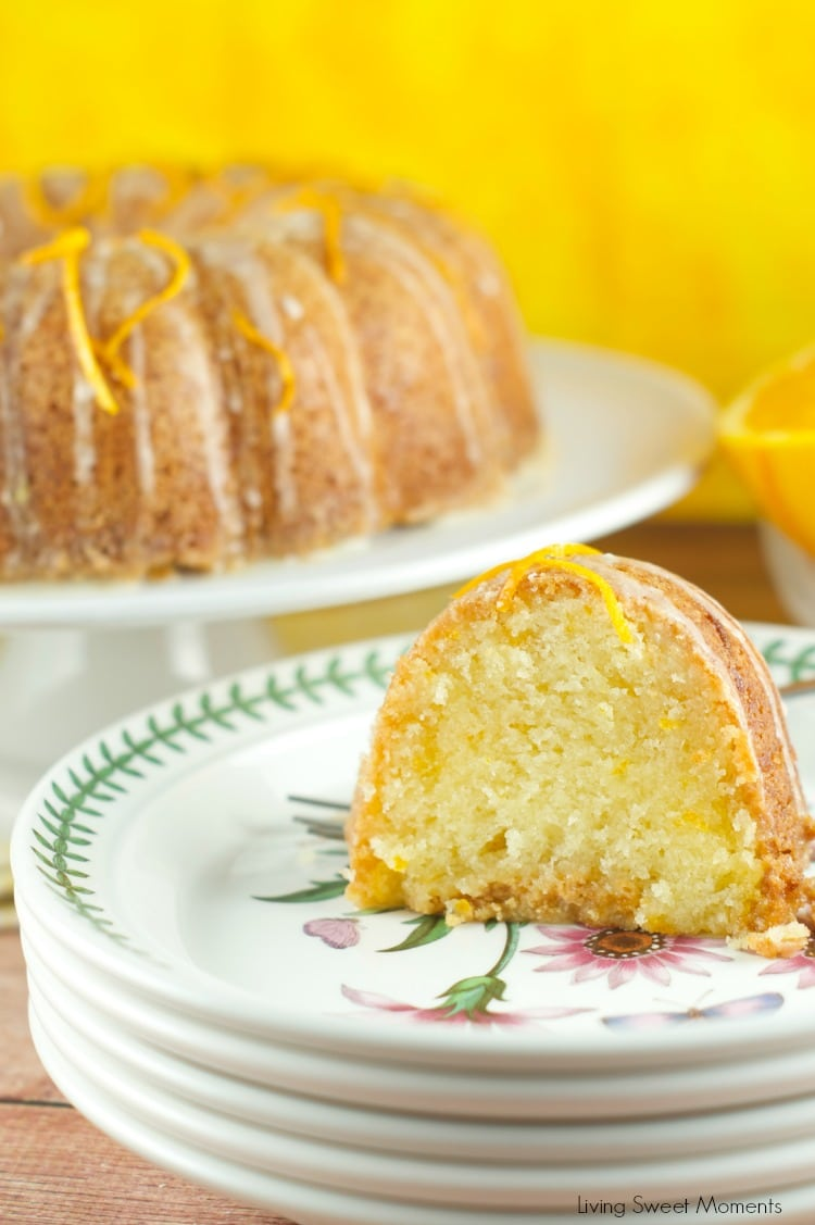 Glazed Orange Bundt Cake Recipe: delicious orange soaked bundt cake topped with a sweet orange glaze. The perfect dessert or breakfast for any occasion. Find the recipe on www.livingsweetmoments.com