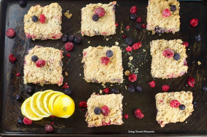 Lemon Berry Crumb Bars: Crumbly butter oatmeal crust with a citrus berry creme filling. These bars are the perfect summer dessert for any occasion