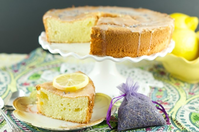 Lemon Lavender Chiffon Cake - this airy cake is infused with lavender and lemon and then topped with a lemon glaze. Delicious for dessert and tea time treat