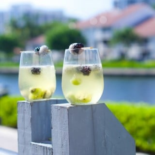 Tropical Moscato Sangria: delicious bubbly moscato with chunks of kiwi, dragon fruit and blackberries. The perfect summer cocktail drink for summer parties.
