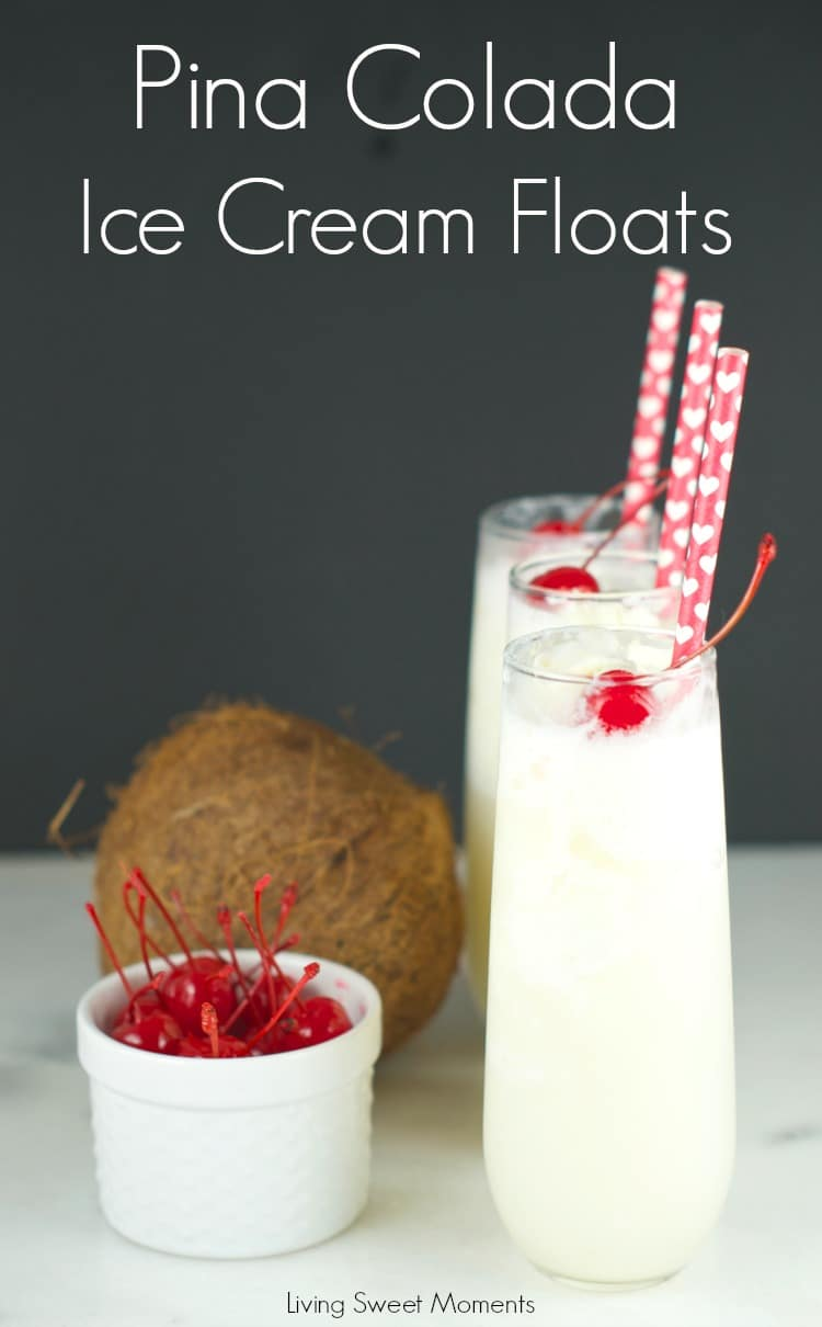 Pina Colada Floats : delicious and refreshing pina colada floats made only with 4 ingredients. Perfect summer dessert that can be enjoyed by everybody. Yum!