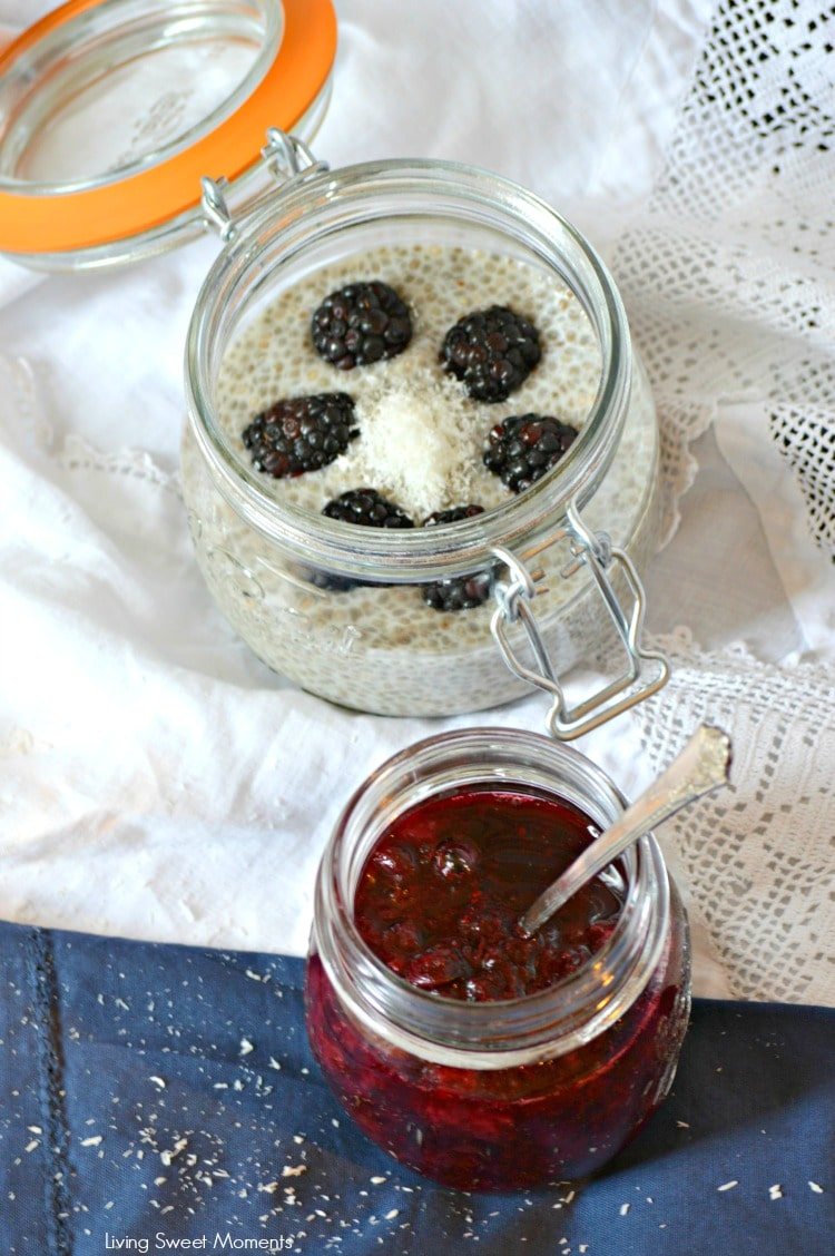 Chia Pudding With Berry Sauce: delicious and healthy breakfast and brunch idea. Gluten free chia pudding is paired with a homemade berry sauce. Easy and yumny!