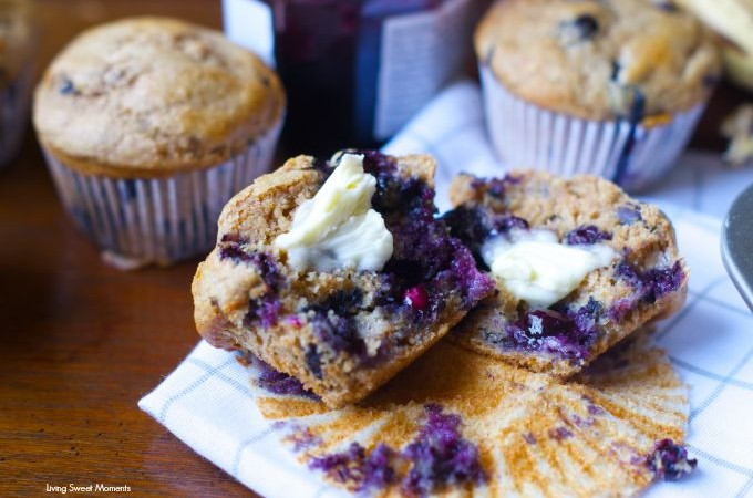 Banana Blueberry Muffins: these moist and flavorful muffins are made with whole wheat flour and wholesome ingredients for a satisfying breakfast or brunch.