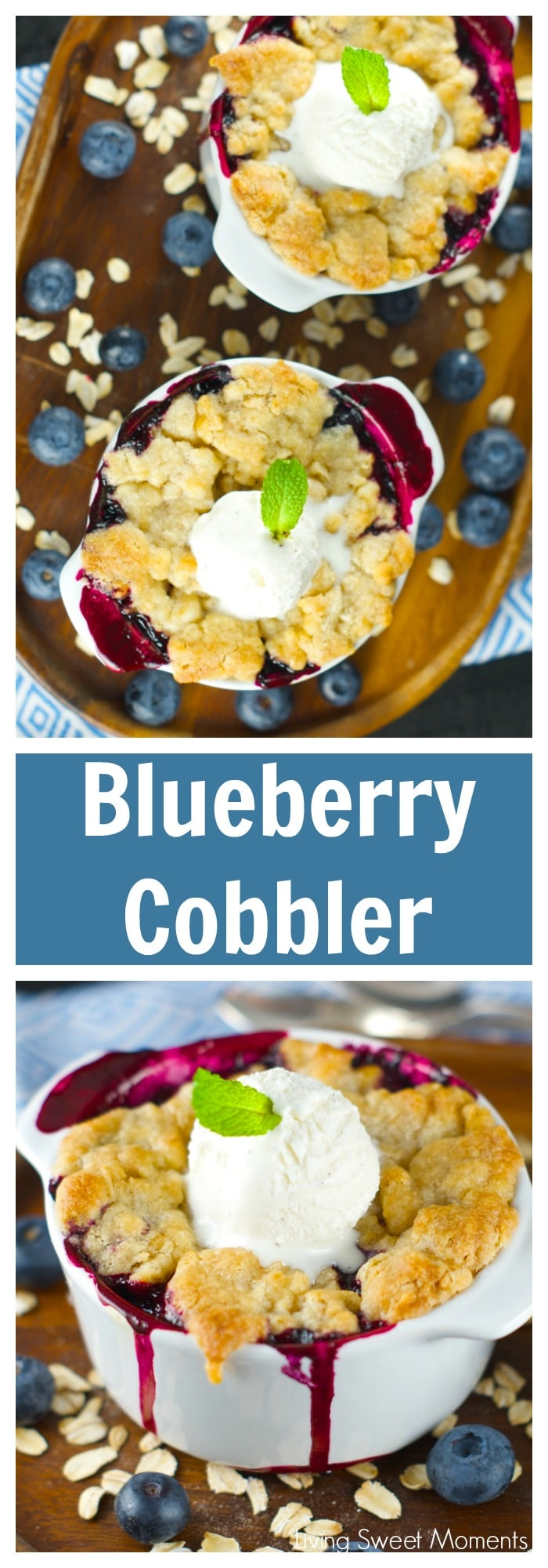 Blueberry Cobbler – A Warm delicious dessert that's tangy and sweet at the same time. Serve with a dollop of vanilla ice cream and you'll be in heaven. Yum!