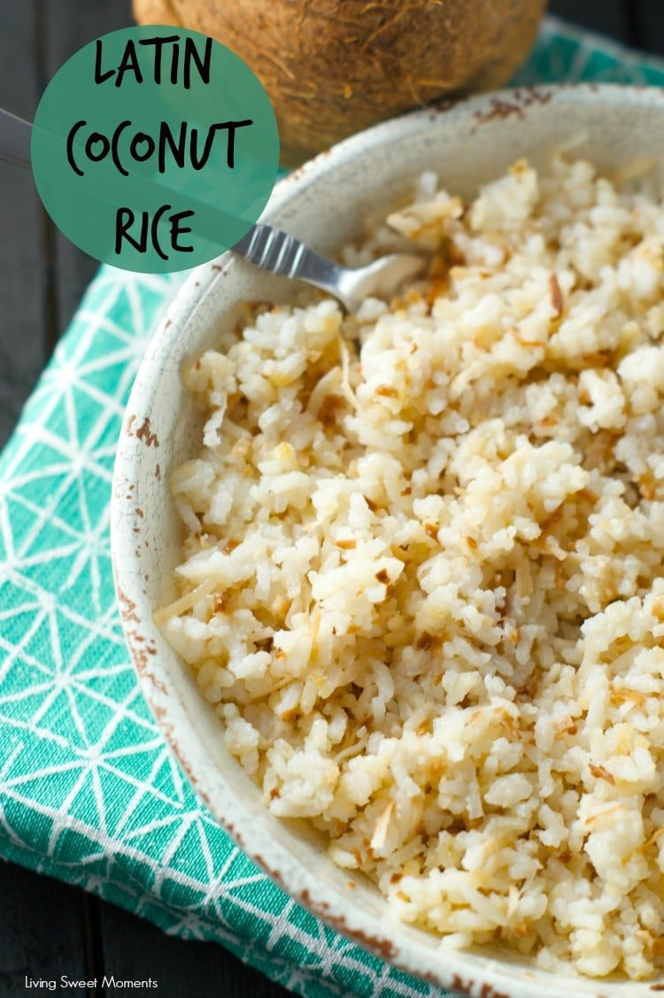 Colombian Coconut Rice: this latin rice is bursting with flavor and texture. A sweet and salty side dish that is ready in minutes. Perfect for weeknight dinners and entertaining too.