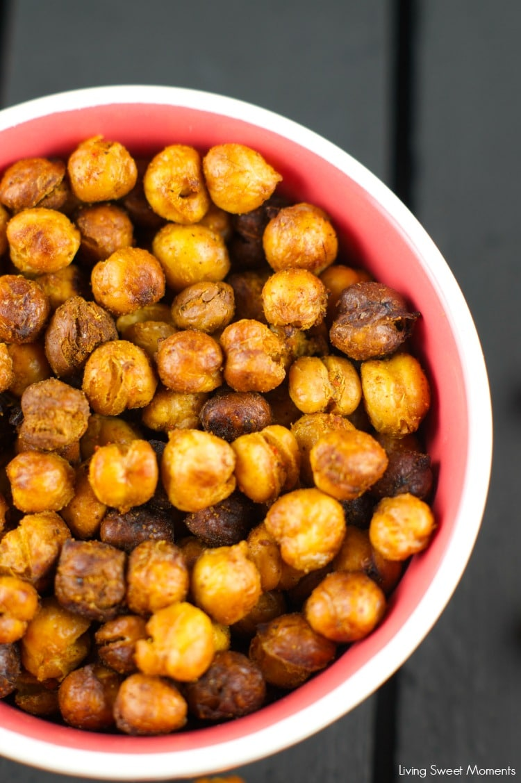 Roasted Crispy Chickpeas: this healthy snack is crunchy and delicious. You'll think you're eating chips! Tossed in spice for amazing taste and texture. Yum!