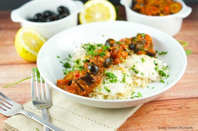 Fish With Eggplant Caponata Sauce: delicate white fish is paired with a robust roasted eggplant caponata sauce. Perfect for a weeknight dinner and parties.
