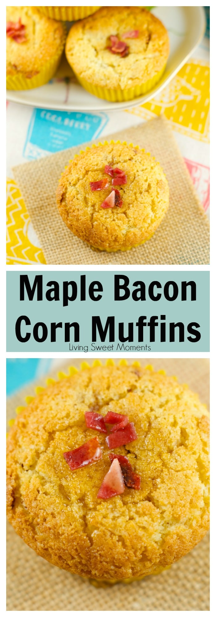 Maple Bacon Corn Muffins – these moist muffins are bursting with flavor! Easy to make and delicious. The batter is filled with bacon bits and maple flavor, making them the perfect brunch or breakfast recipe!