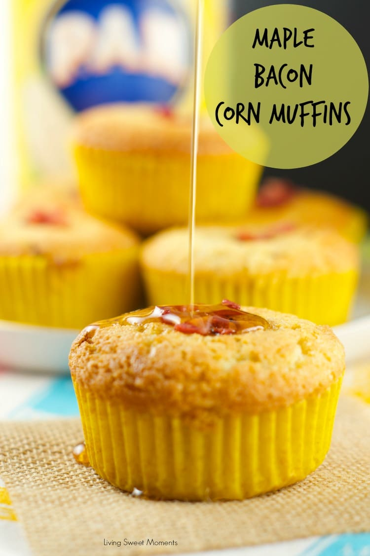 Maple Bacon Corn Muffins - these moist muffins are bursting with flavor! Easy to make and delicious. The batter is filled with bacon bits and maple flavor, making them the perfect brunch or breakfast recipe!