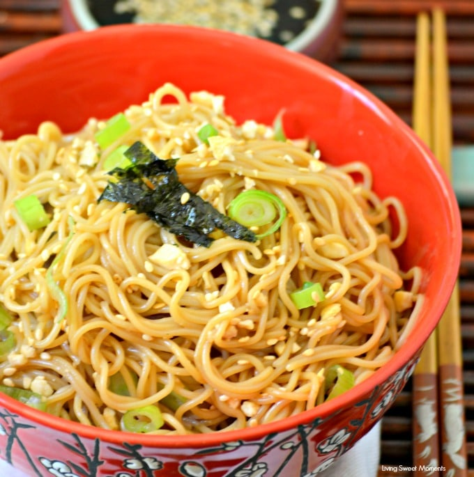Easy Peanut Noodles - This quick weeknight dinner is easy to make and delicious. Features rice noodles tossed with a soy peanut sauce. It's vegetarian & GF.