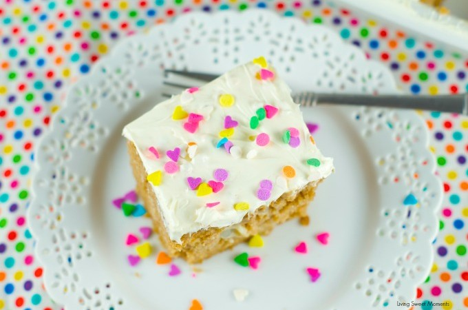 Tapioca Spiced Poke Cake - Spice cake is drenched with creamy tapioca pudding and then topped with cream cheese frosting. Perfect and easy dessert for parties and get togethers. More on www.livingsweetmoments.com