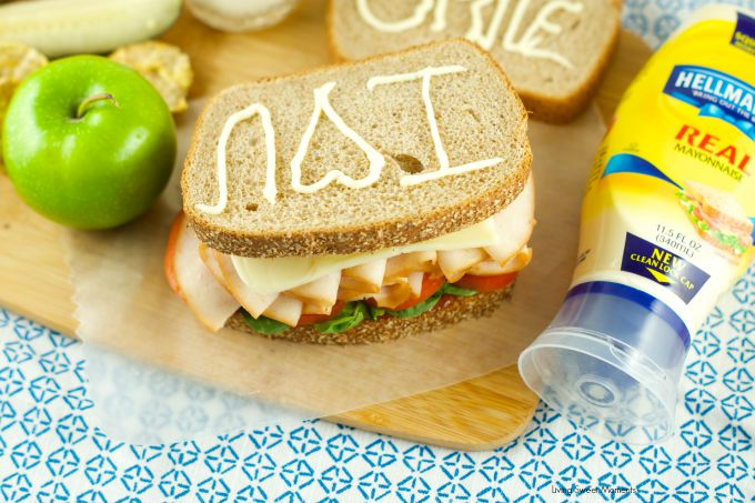 Kid Friendly Turkey Sandwich - loaded with meat, veggies, jelly and mayo for an delicious and healthy lunchbox item. Plus a great idea to send notes to kids