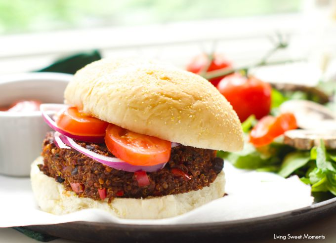 Veggie Burger - These vegan and GF veggie burgers are so good!. They are a healthy alternative to the original hamburger. Made with quinoa and black beans.