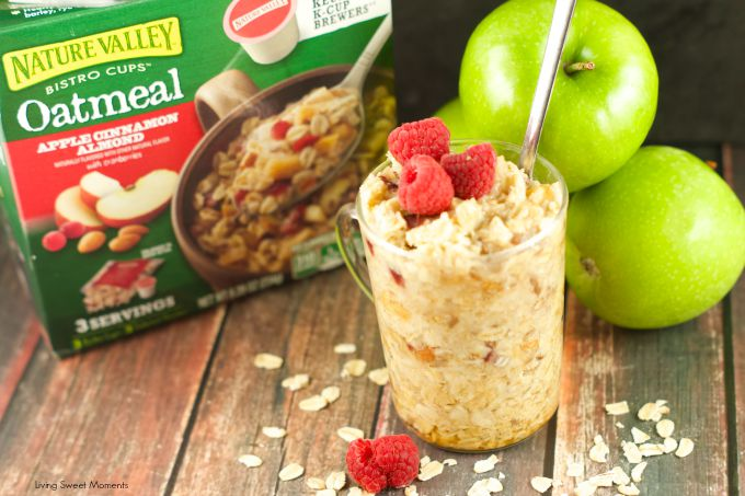 Instant Apple Cinnamon Almond Oatmeal - Have breakfast in seconds using the Nature Valley Bistro Cups! Use your coffee machine to brew your breakfast. Cool!