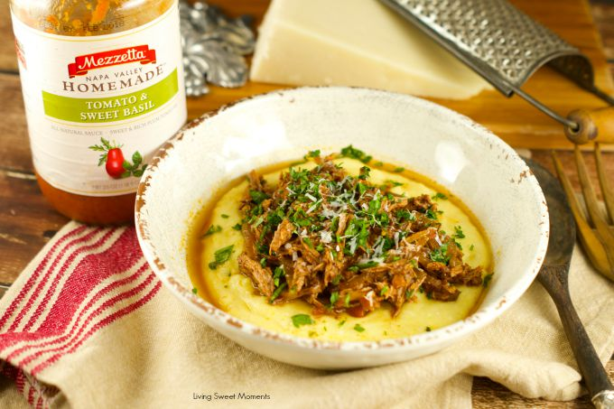 Crock Pot Braised Beef Ragu With Polenta: delicious and comforting dinner idea. Super easy to make and perfect for the whole family. Perfect for the winter.