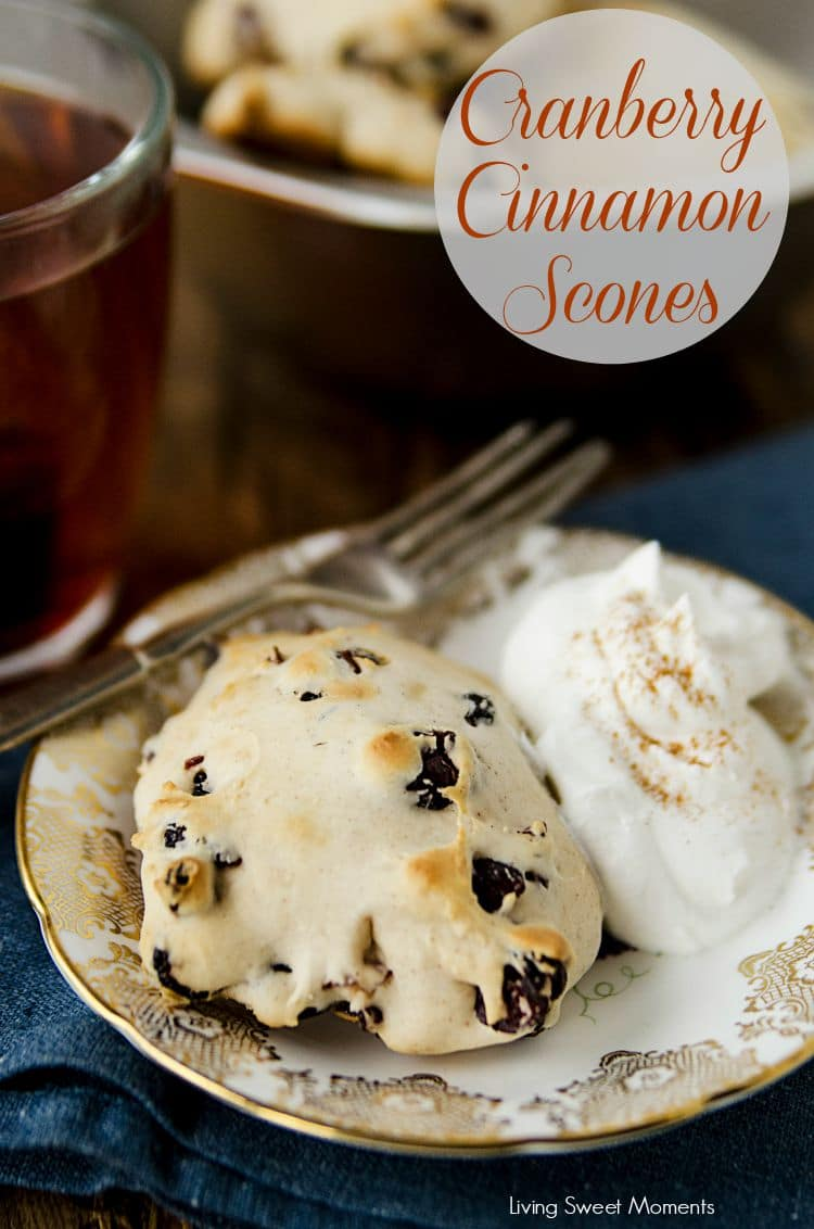 Cranberry Cinnamon Scones - these tender melt in your mouth scones are super easy to make and delicious! Perfect for breakfast, brunch or with tea! Yummy