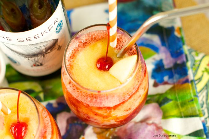 Riesling Peach And Cherry Slushies: delicious frozen cocktail with wine, cherries and peaches. Perfect to enjoy poolside or for entertaining. Refreshing!