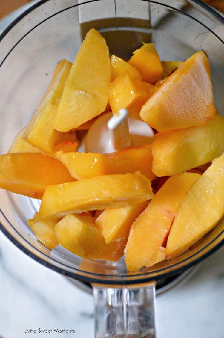 2 Ingredient Peach Sorbet Recipe: this delicious and easy to make peach sorbet is healthy, creamy and the perfect quick dessert to make any day. No machine needed! Delish!