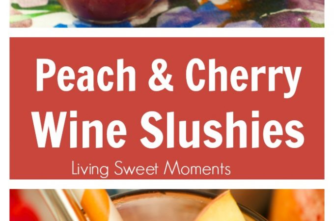 Riesling Peach And Cherry Slushies: a delicious frozen cocktail with wine, cherries, and peaches. Perfect to enjoy poolside or for entertaining. Refreshing!