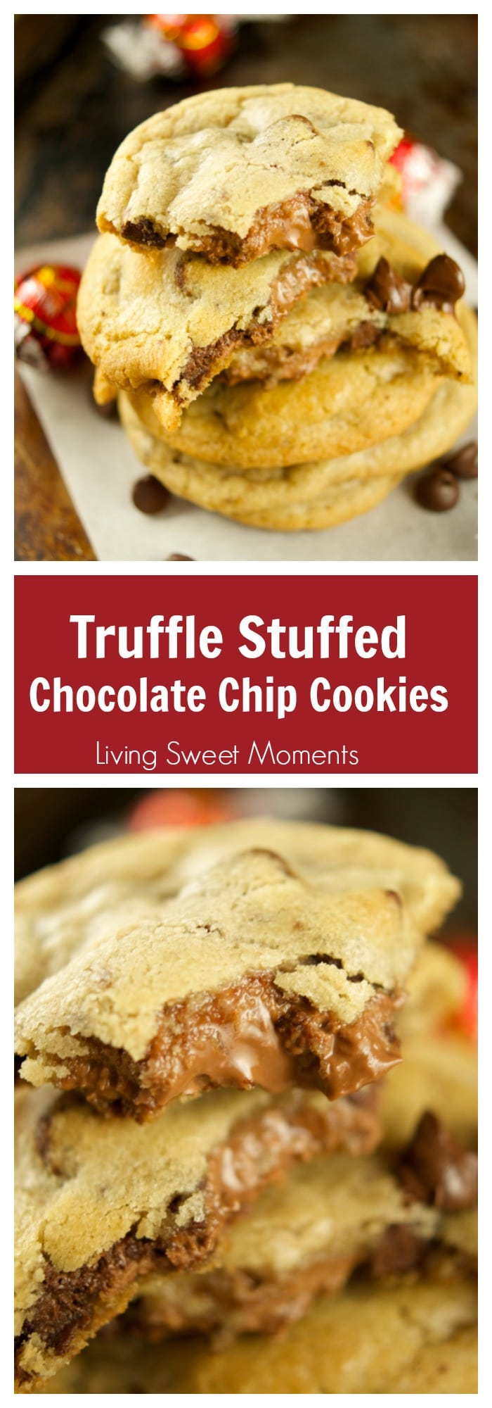 Truffle Stuffed Chocolate Chip Cookies – these chewy chocolate chip cookies are ooey gooey and stuffed with a chocolate truffle. The best cookie recipe! Yum