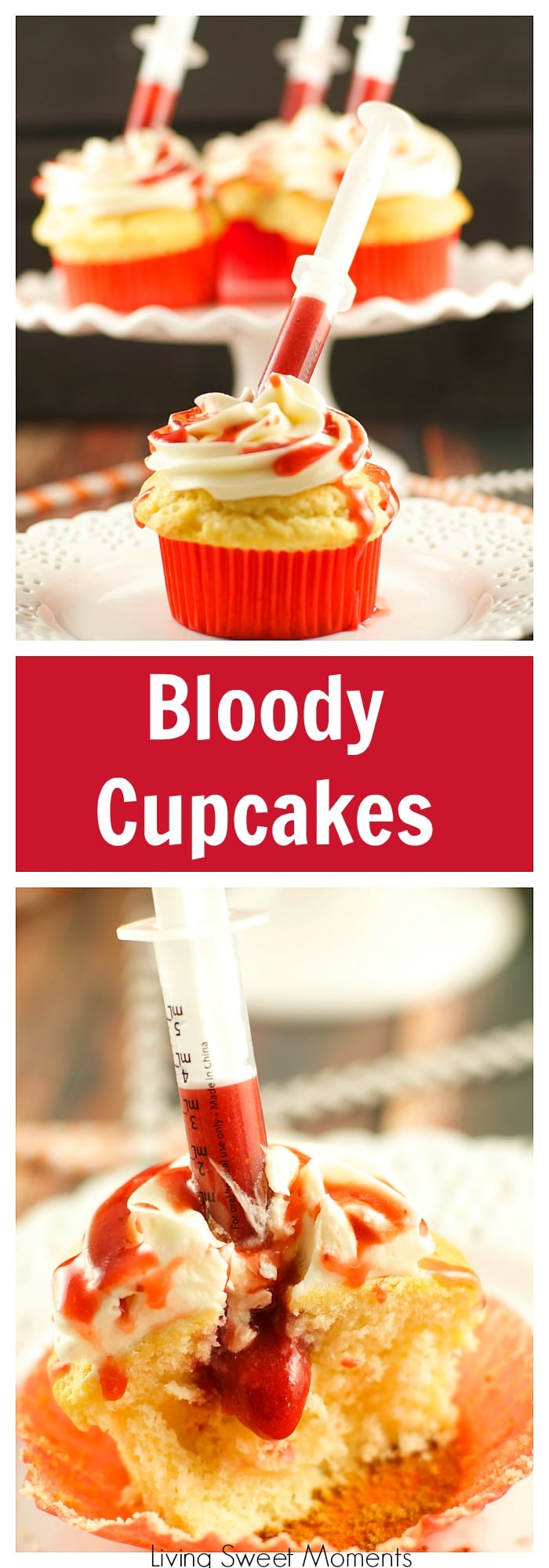 Bloody Cupcakes – the perfect Halloween Treat for a party! Vanilla cupcakes with vanilla buttercream filled with strawberry coulis. Decadent and original!