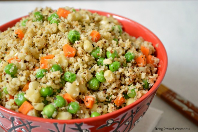 Cauliflower Fried Rice - Healthy, low-carb, and seriously tasty! Tastes so much like the Chinese takeout but without the guilt. Perfect healthy side dish.