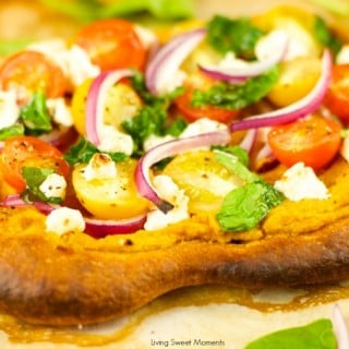 Pumpkin Hummus Pizza With Veggies