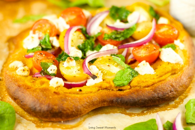 Pumpkin Hummus Pizza With Veggies - delicious and addicting appetizer to make for game day! Yummy crispy pizza with pumpkin hummus goat cheese and veggies.
