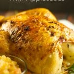 Rosemary Roasted Chicken With Applesauce - delicious juicy chicken served with a side of roasted applesauce. Super easy to make and perfect for dinner. Yum