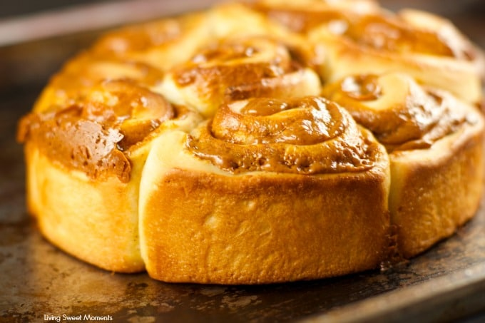 Dulce De Leche Cinnamon Rolls - these homemade cinnamon rolls are made from scratch and filled with delicious dulce de leche. Perfect for brunch or dessert.