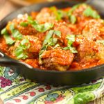 Turkey Meatballs With Tomato Sauce - these easy meatballs are baked and not fried. Served with a homemade light tomato sauce. The perfect 30 minute meal.