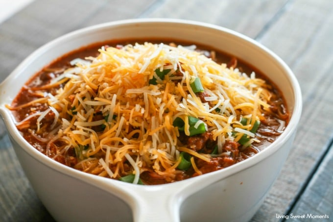 This delicious Slow Cooker Chili Recipe is easy to make, hearty and it definitely feeds a crowd. The perfect winter recipe! Just add your favorite toppings.
