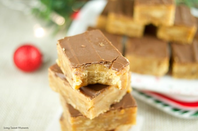 These chewy toffee bars have a buttery toffee crust, a soft caramel center and topped with chocolate. The perfect dessert for Holiday parties & celebrations