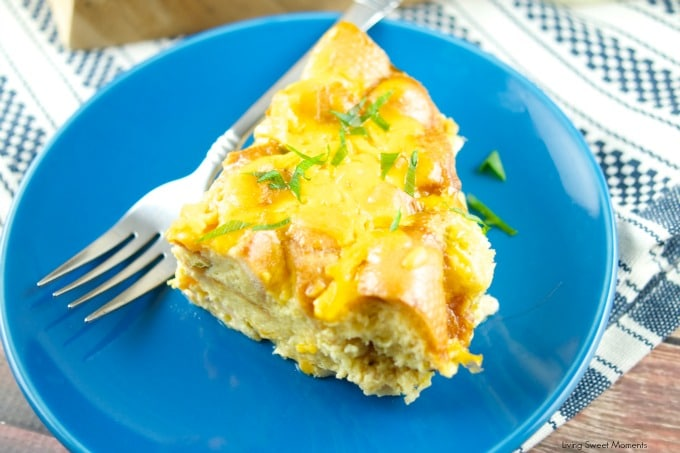 This delicious Slow-Cooker Cheesy Bacon Strata is easy to make and delicious for breakfast, brunch and even dinner. Perfect for any party or gathering. Yum!