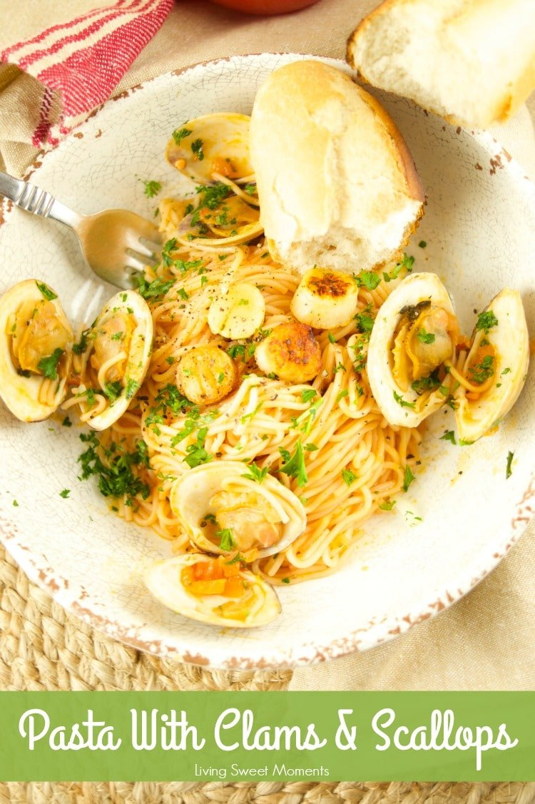 This Pasta With Clams And Scallops is ready in 30 minutes or less! The perfect quick & flavorful dinner idea for your family and friends. Loaded with flavor